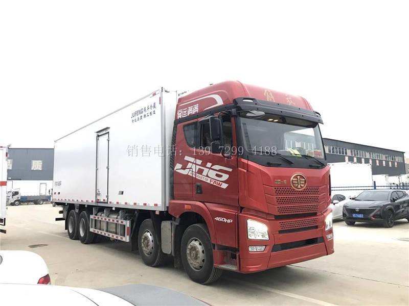 国六大型新款9米6解放JH6前四后八肉钩冷藏车厂家价格配置图片