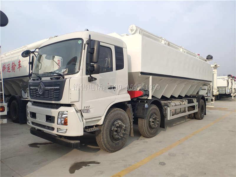电动15吨单桥东风天锦VR小三轴散装饲料运输车厂家价格配置图片