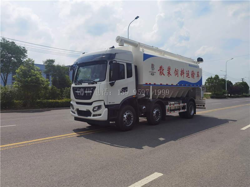 国六东风天锦短三轴散装饲料罐车价格图片